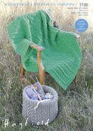 Sirdar Leaflet 7730 Aran Throw And Basket