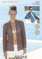 Sirdar Leaflet No 7071 Cotton Dk Crochet Cardigan