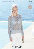 Sirdar leaflet No 7239 Cotton Dk Crochet Top