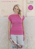 Sirdar Leaflet 7744 Cotton 4 Ply Top