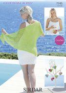 Sirdar Leaflet 7745 Crochet 4 Ply Ladies Shawl