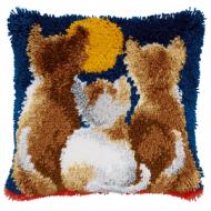 Vervaco  Cats At Night Latch  Hook  Cushion Kit