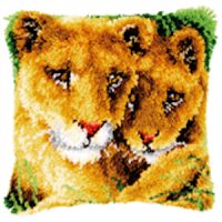 Vervaco  Lioness and Cub Latch  Hook  Cushion Kit