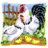 Vervaco  Chicken Family Latch  Hook  Cushion Kit