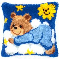 Vervaco  Blue Teddy Latch  Hook  Cushion Kit