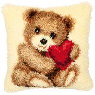 Vervaco   Teddy with HeartLatch  Hook  Cushion Kit