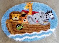 Latch Hook Shaped Rug Kit: Noahs Ark