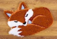 Latch Hook Shaped Rug: Sleeping Fox