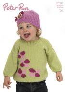 Peter Pan Leaflet P1147 Girls Flowery Jumper & Hat