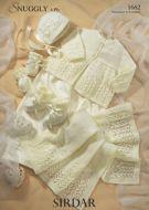 Sirdar Baby Matinee Bonnet Booties & blanket pattern Number 1662