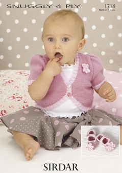 Sirdar Baby Cardigan & shoes Pattern Number 1718
