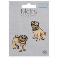 Embroidered Motif - Pugs