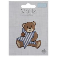 Embroidered Motif - Bear with Blue Stripe Star