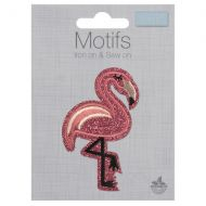 Embroidered Motif - Glitter Flamingo