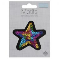 Sequin Motif - Multi Coloured Star