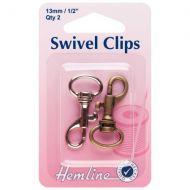 H Swivel Clip 13mm nickel & Bronze