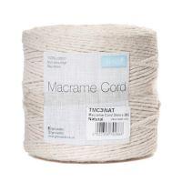 Cotton Macramé Cord: 3mm x 262m: 0.5kg: Natural