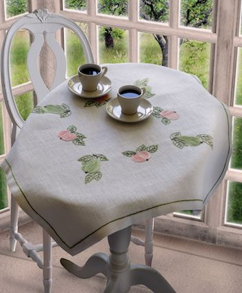 Anchor Pear & Apple  Linen Tablecloth Embroidery Kit
