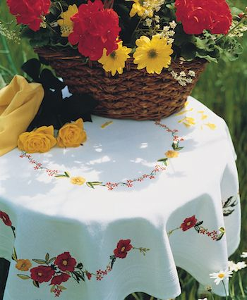 Anchor Poppies Tablecloth Embroidery Kit