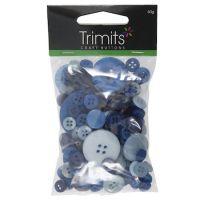 Mixed Craft Buttons - Blue