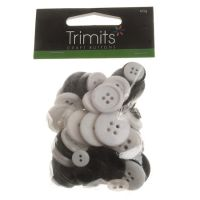 Mixed Craft Buttons - Black & White