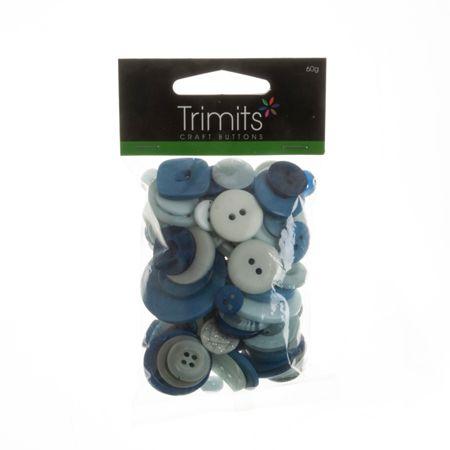 Mixed Craft Button Pack Blue