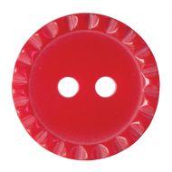 Button - Crimp Edge - Red - 15mm