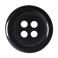 Button - 4 Hole Plain - Black - 15mm