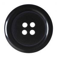 Button - 4 Hole Plain - Black - 22.5mm
