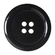 Button - 4 Hole Plain - Black - 27.5mm