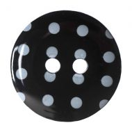 Button - Spotted - Black - 15mm