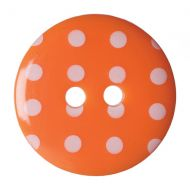 Button - Spotted - Orange - 17.5mm