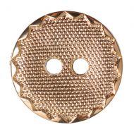Button - Metal Effect Crimp Edge - Gold - 13mm