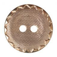 Button - Metal Effect Crimp Edge - Gold - 15mm