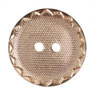 Button - Metal Effect Crimp Edge - Gold - 17.5mm