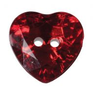 Button - Crystal Heart - Red - 12mm