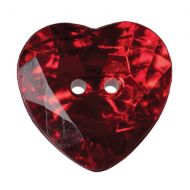 Button - Crystal Heart - Red - 16mm