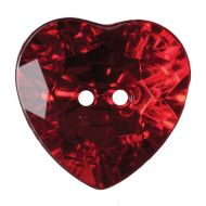 Button - Crystal Heart - Red - 20mm