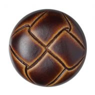 Button - Leather Effect Aran - Brown - 15mm