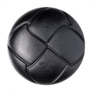 Button - Leather Effect Aran - Black - 20mm
