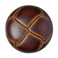 Button - Leather Effect Aran - Brown - 22.5mm