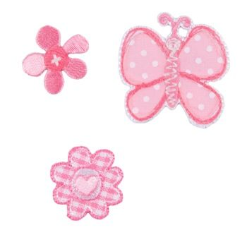 Embroidered Motif BUTTERFLY& FLOWERS