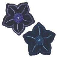 Embroidered Motif NAVY SEQUIN FLOWER