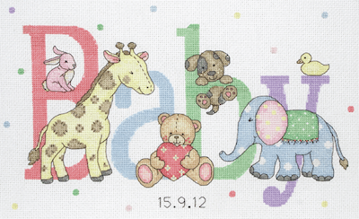 Anchor Baby Animals Birth Record Cross Stitch Kit