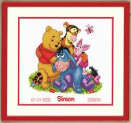 Vervaco Winnie and Friends Birth Record Cross Stitch Kit