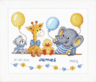Vervaco Animal Cheer Birth Record Cross Stitch Kit