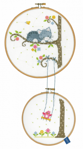 Vervaco Bird on Swing with Hoops Cross Stitch Kit