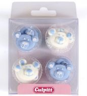 Piped Baby Bear Decorations Blue