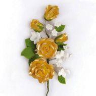 Wired Sugar Rose Spray gold 145mm