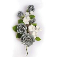 Wired Sugar Rose Spray silver 145mm